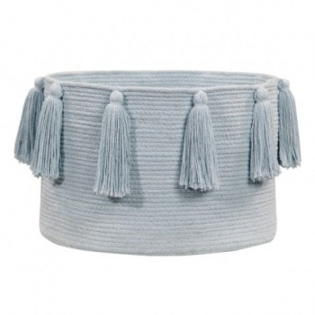 Basket Tassels Soft Blue