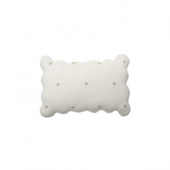 Knitted Cushion Biscuit Ivory