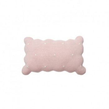 Knitted Cushion Biscuit Pink